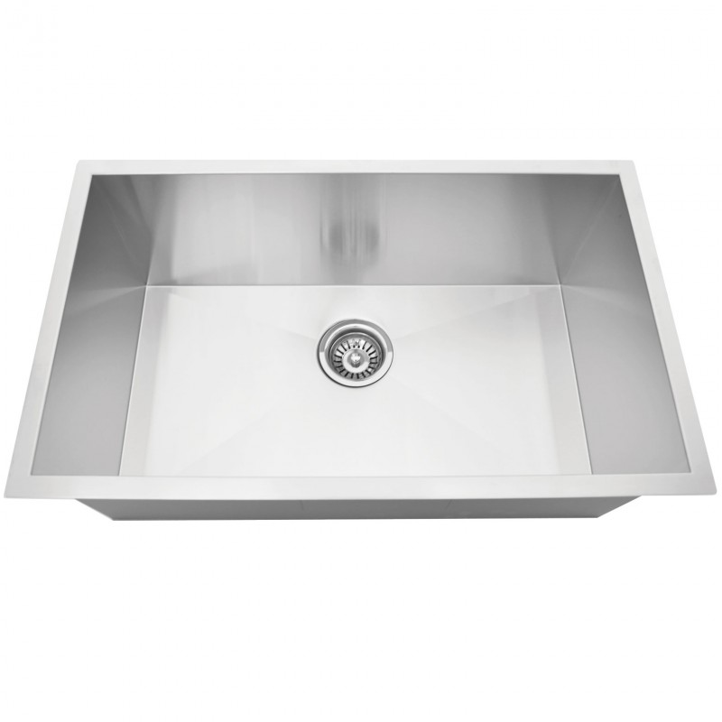 "Stainless Steel Single Bowl Sink - 30"" x 18"" x 9"" - Zero Radius"