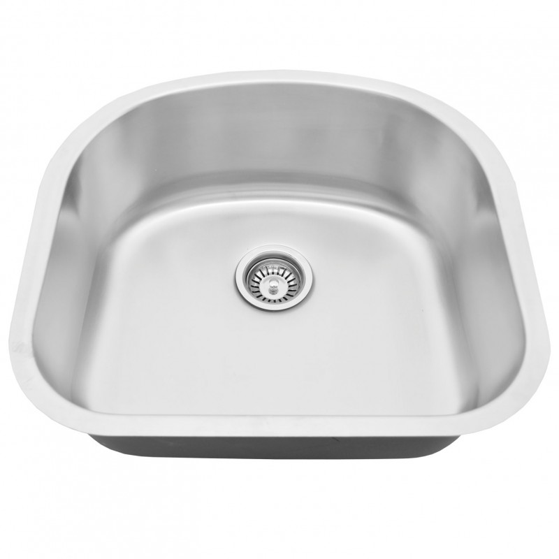 "Stainless Steel Undermount Sink - 23"" x 20"" x 9"" - D Shape"