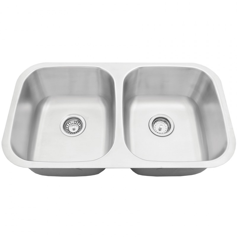 "Stainless Steel Double Sink - 32"" x 18"" x 9"" - 50/50"