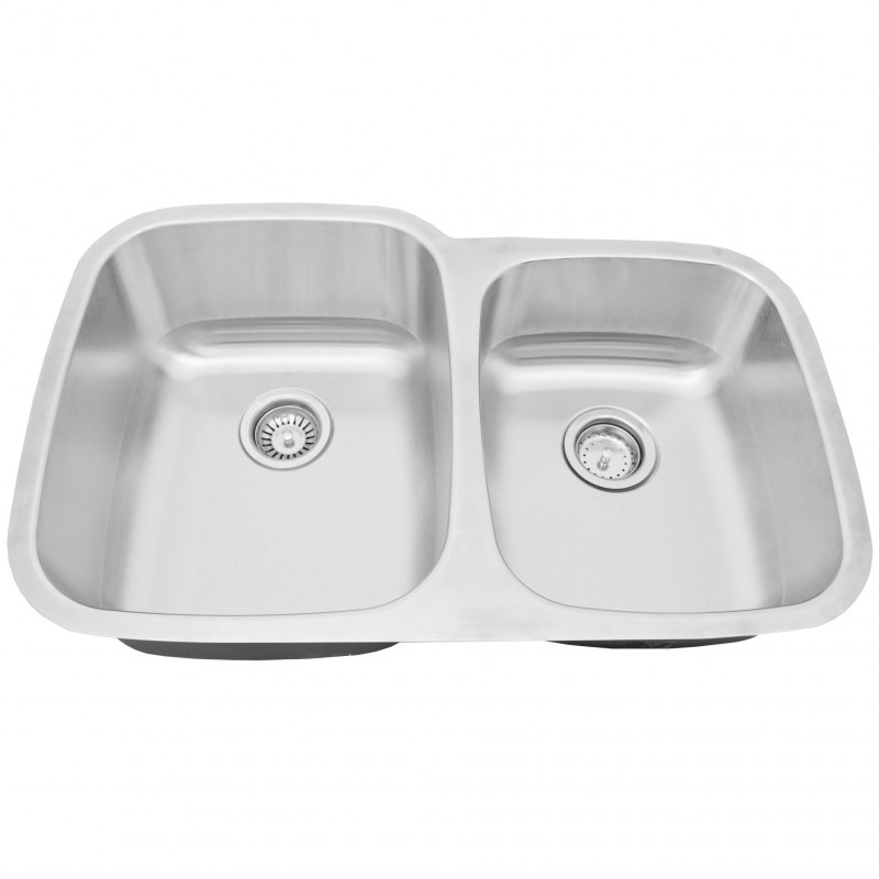"18GA 304 Stainless Steel Double Sink - 32"" x 20"" x 9""/7"" - 60/40"