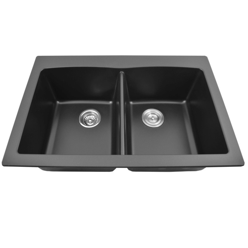 "Top Mount Granite Composite 50/50 Sink - Black Pearl - 28.34"" x 20"""